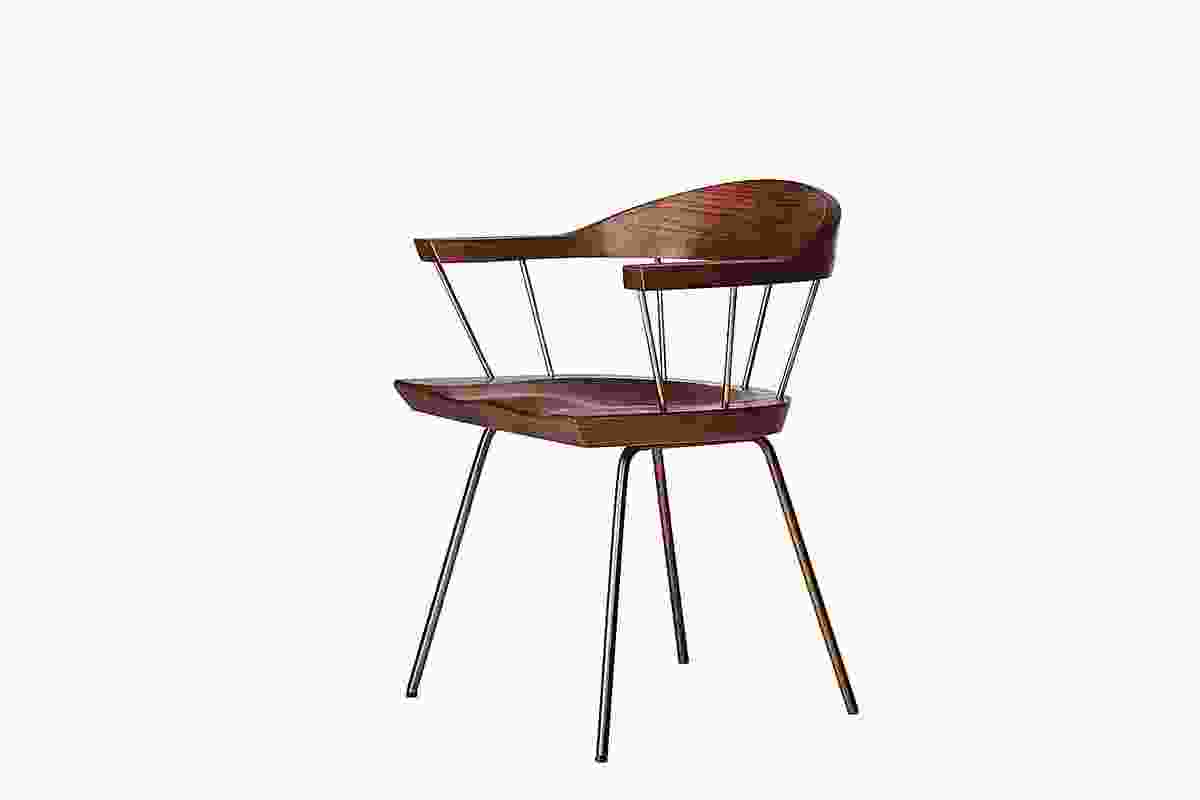 Spindle chair, in timber and steel, was inspired by Louis Kahn's Exeter Library.
