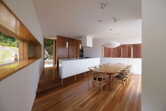 Whale Beach, Central Coast, NSW: The warmth of the timber interior surfaces is complemented by the use of white joinery and walls.