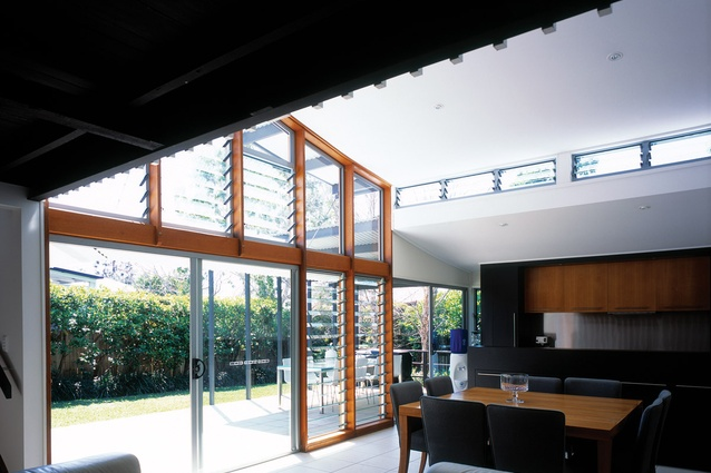 Franzmann 1 residence 1999. The extension has been tucked underneath an old verandah, transforming the existing structure into an internal mezzanine above.