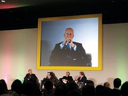 "Lord Norman Foster at the ""Architecture and the global condition"" panel discussion."