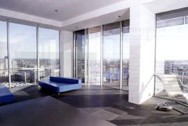 View over Docklands and the city from the penthouse apartment.