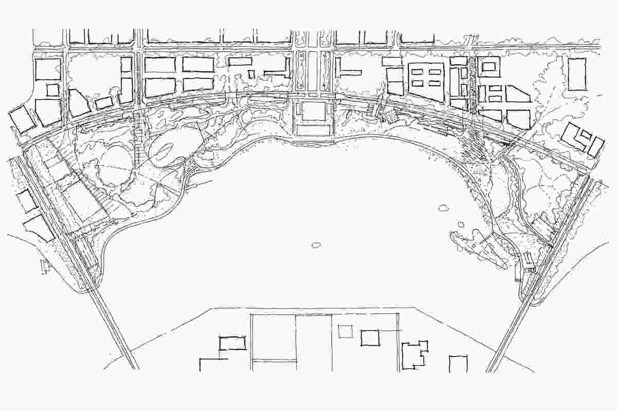 A sketched site plan showing the Canberra Central Parklands area.