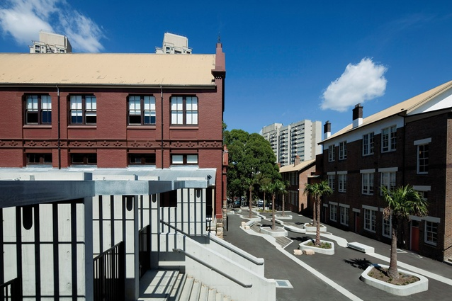 The former public school buildings are heritage listed, and have been thoughtfully incorporated into the new design.