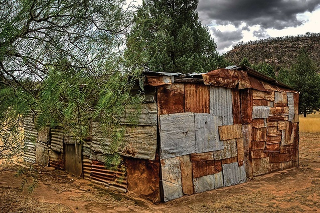 Seaton's Farm, Weddin Mountains. During the Great Depression, sheets of recycled corrugated iron were used to construct farm buildings.