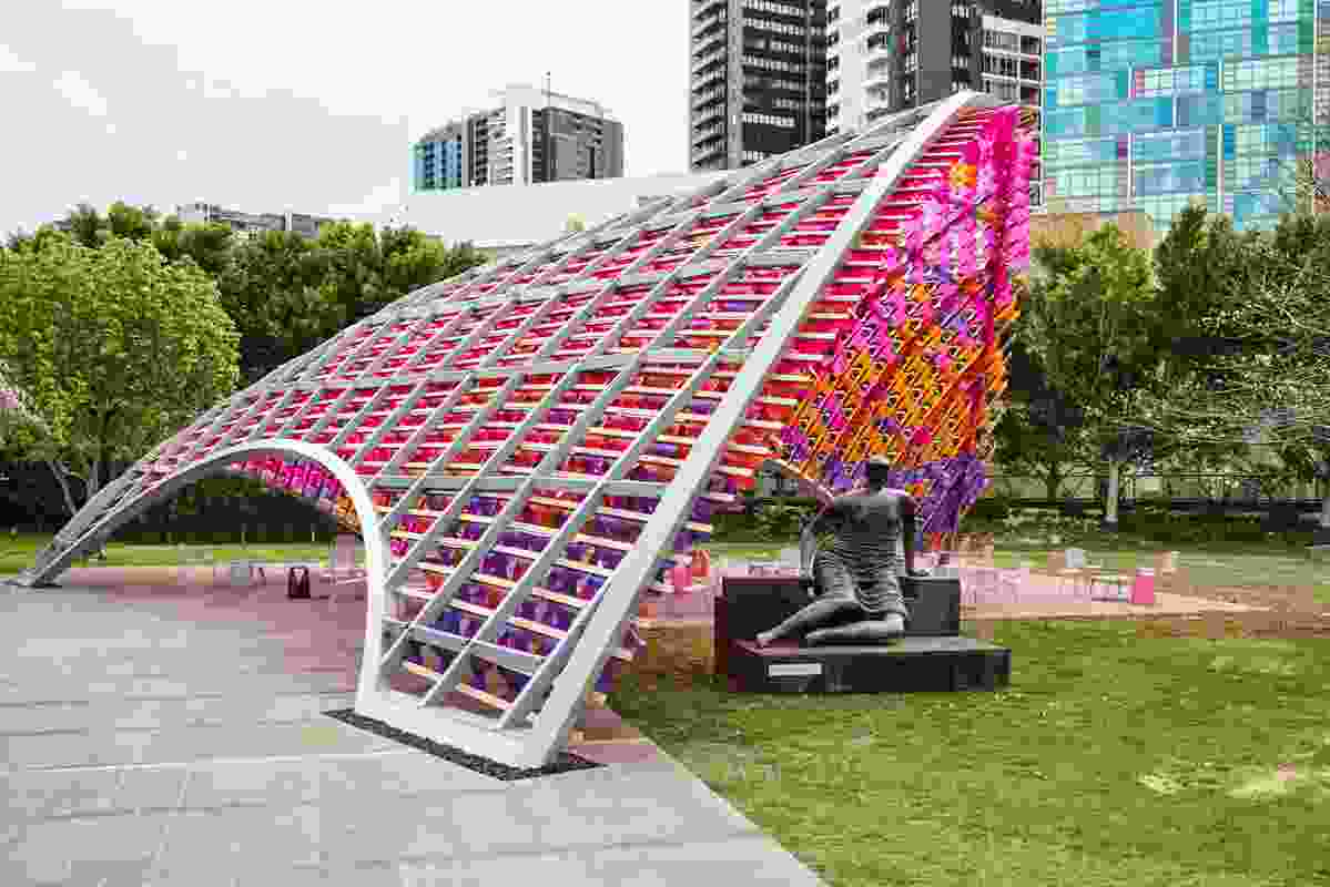 The 2015 Summer Architecture Commission by John Wardle Architects at NGV International is made from a doubly curved steel grid shell.