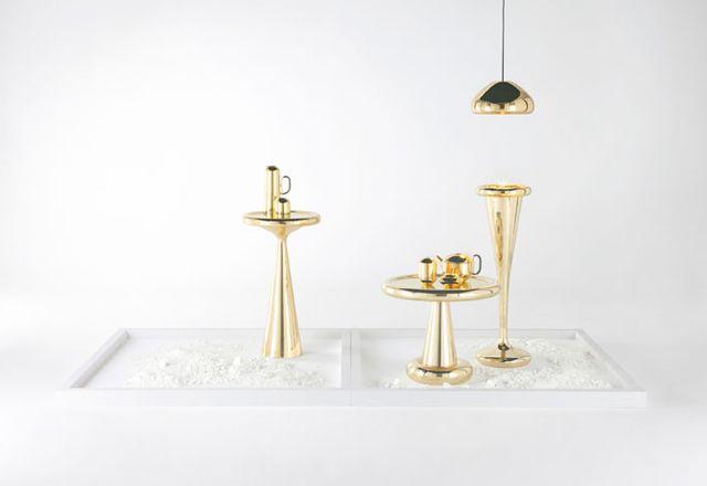 Tom Dixon's Spun gold tea set at MOST, Milano 2013.