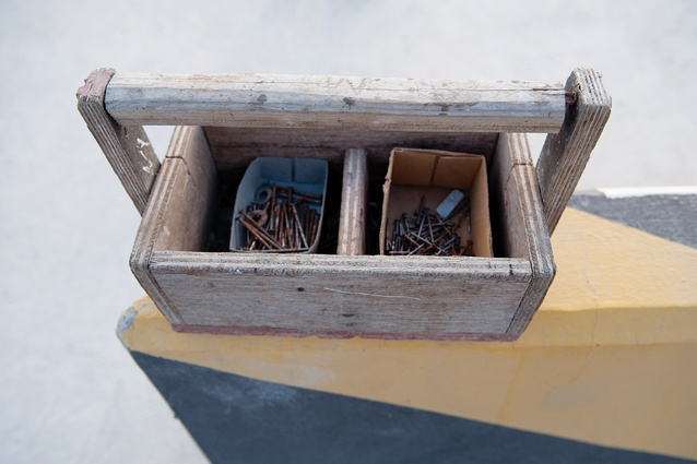 A toolbox shows the signs of the wear-and-tear of several years' hard work.