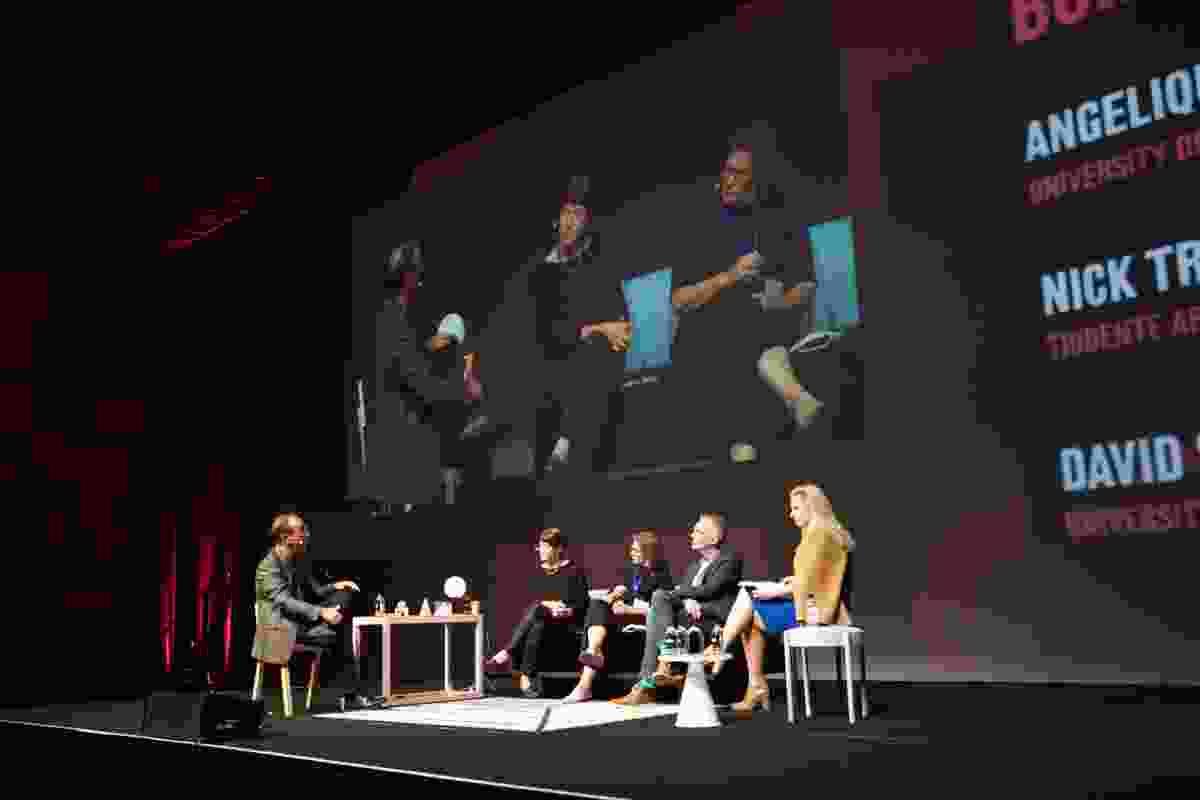 (L–R): Nick Tridente, Maree Grenfell, Trish Hansen, David Sanderson, Angelique Edmonds on stage at How Soon is Now?