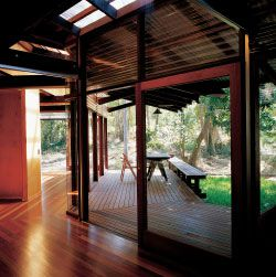 Rex Addison's speculative house in Taringa. Looking from the living/dining area to the study and verandah.