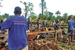 Emergency Architects Australia. Initial works on a shelter in the Solomon Islands.