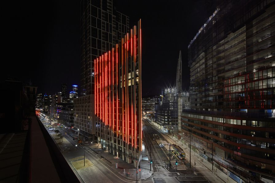 The Bruce Ramus LED light artwork that shows the weather forecast, at 888 Collins Street in Docklands, Melbourne.