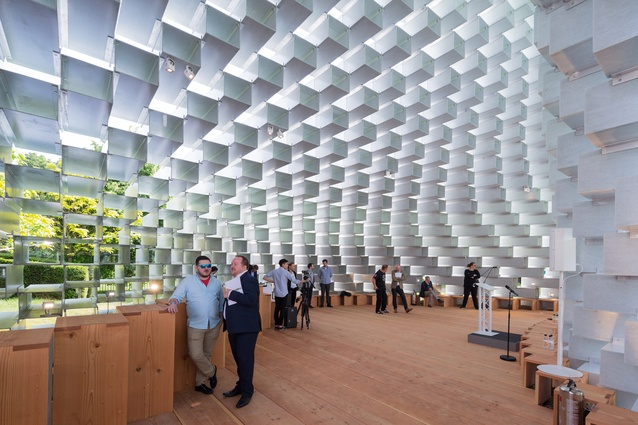 Interior of Bjarke Ingel's Serpentine Pavilion. By day the structure will house a café and at night will be a space for the Serpentine's Park Nights programme that includes works by artists, writers and musicians.