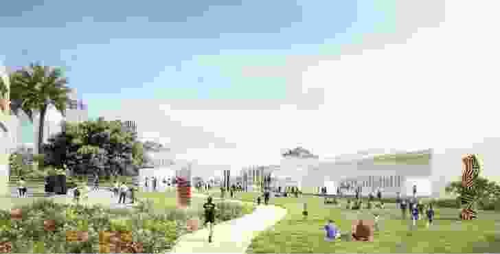 The entry plaza and through site link of the revised design for the Sydney Modern Project by SANAA.