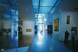 Looking south down the ground floor Indigenous Art gallery, with the bridges over the south intrafilament above.Image: Trevor Mein.