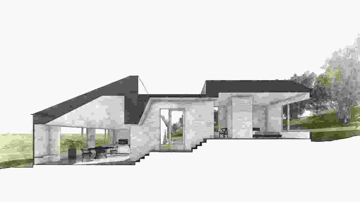 Sectional perspective of Two Halves House by Moloney Architects.