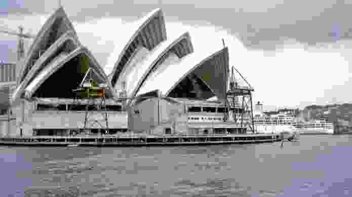 The Sydney Opera House during construction, 1968.