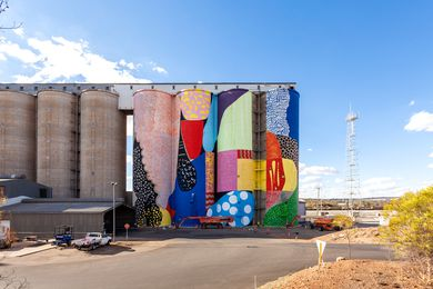 American artists HENSE (Alex Brewer) painted this mural on a grain silo in Avon in 2015.