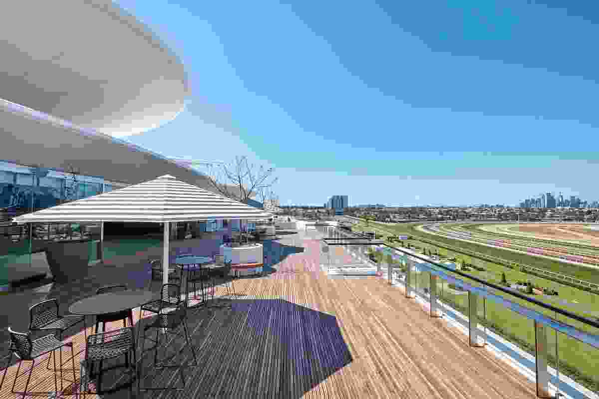 The rooftop terrace of the Victorian Racing Club's new club stand by Bates Smart.