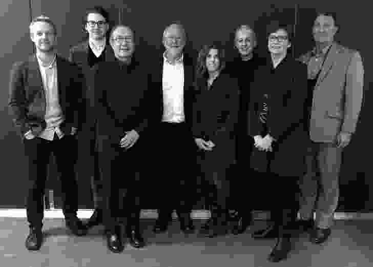 The 2016 Australian Urban Design Awards jury, L–R: Peter Steele, Courtenay Wheeler, Ken Maher, William Chandler, Anne Kovachevich, Jill Garner, Kate Cullity and Neil Savery.