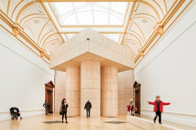 Pezo von Ellrichshausen's structure in Sensing Spaces enabled visitors to climb, via hidden spiral staircases, to the gallery's ornate ceiling to experience a different perspective.