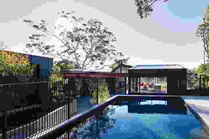 The the pool helps to define the corner of the central courtyard.