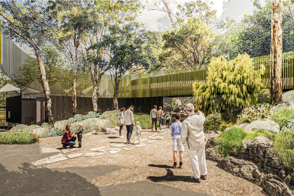 The Western Pavilion and precinct entry of the Upper Australia exhibit at Taronga Zoo by Lahznimmo Architects and Spackman, Mossop and Michaels.