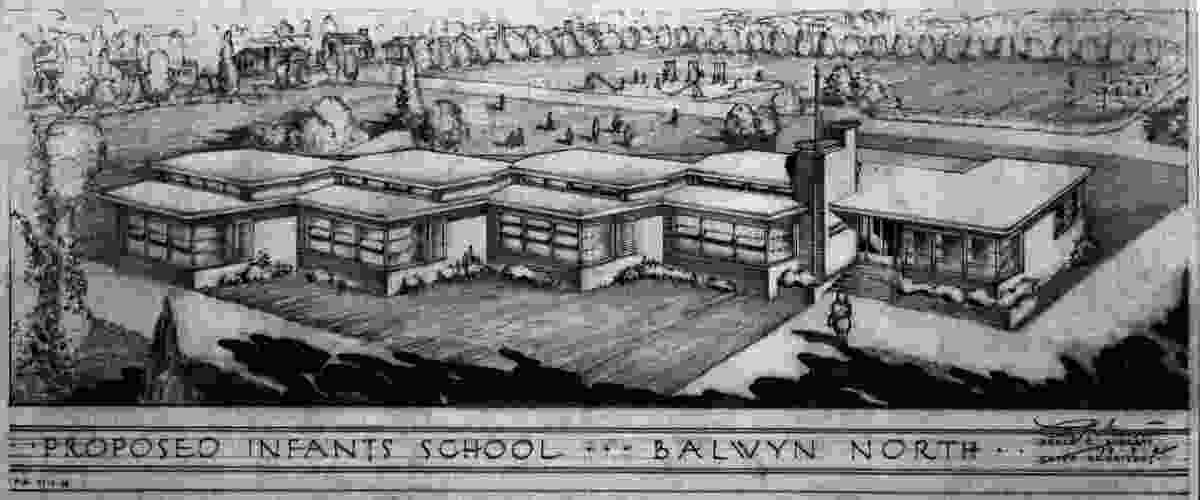 Perspective Drawing of the Proposed Infants School, Balwyn North, Vic, 1948. Architect: Public Works Department, Vic. (Percy Everett).