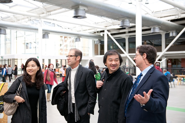 Shigeru Ban talks to University of Adelaide's  new head of school (architecture), Dr George Zillante (far right).