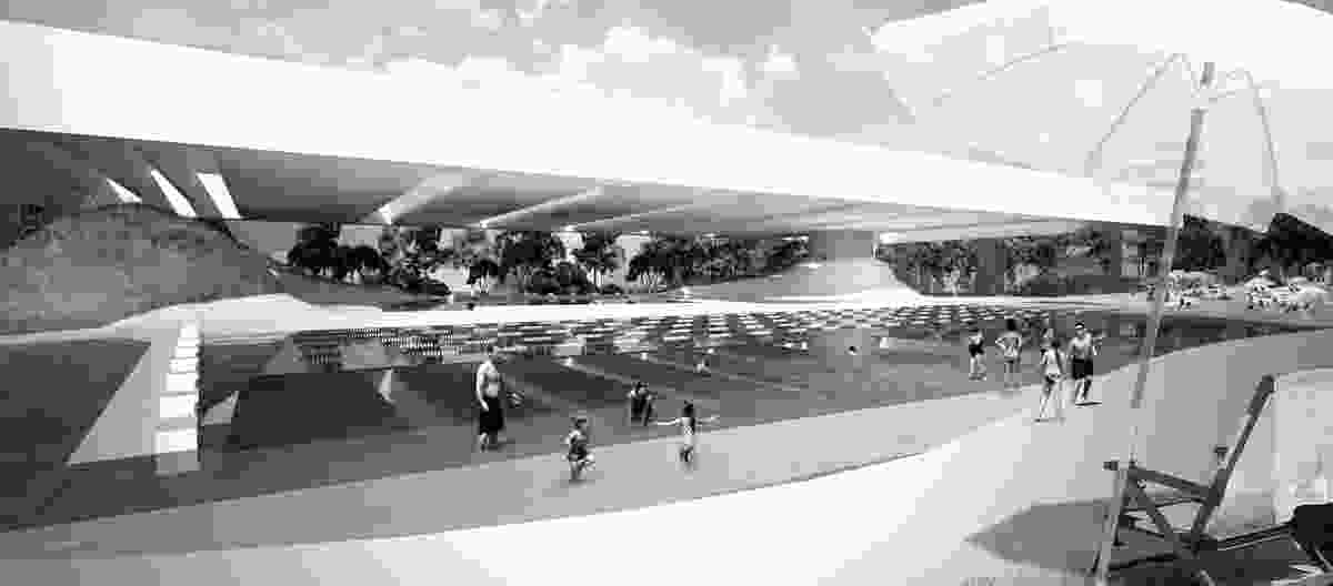 The constructed landscape of the pool, looking north-west towards Joynton Avenue.