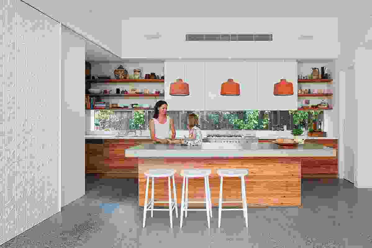 A low strip window in the kitchen offers views to the soft, green plantings along the side boundaries.