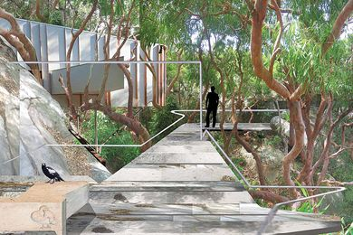 Imagined Landscape by David Boyle – development stripped down to footbridges, paths and platforms.
