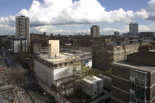 Murray Grove in Hackney, London, under construction. The nine-storey tower, completed in 2009, was at the time the tallest timber residential building in the world.