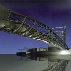The bridge design takes its cues from the redundant industrial structures – a gasometer and a gantry – adjoining the site.