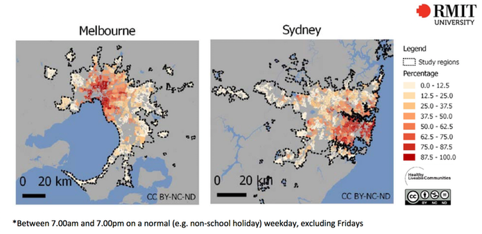Figure 1: Percentage of residences by suburb within 400m of a public transport stop with a service every 30 minutes.