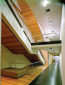 One of two long stairs, which connect the lower floors at the building's north and south edges.