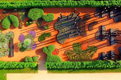 Aerial view of Taylor Cullity Lethlean's garden Cultivated by Fire, Australia's contribution to the 2017 International Horticultural Exhibition (Internationale Gartenausstellung) in Berlin.