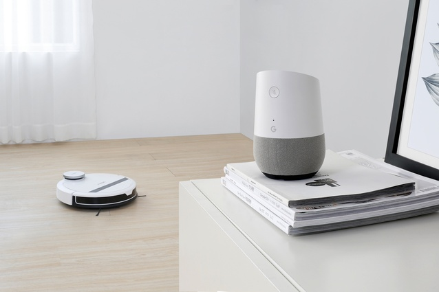 The Deebot 900 robot vacuum cleaner from Ecovacs is compatible with Google Home and Amazon Alexa.