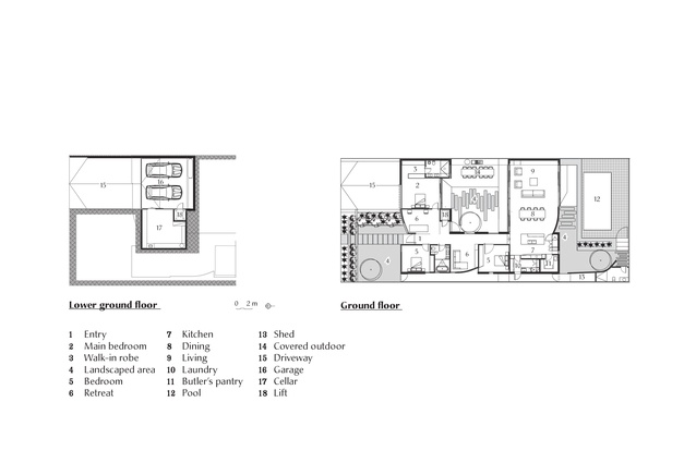 Plans of Courtyard House by Figr Architecture.