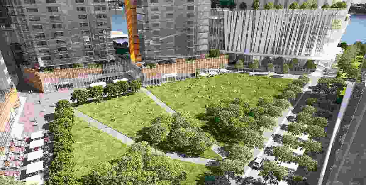 The proposed urban park at Barangaroo South.