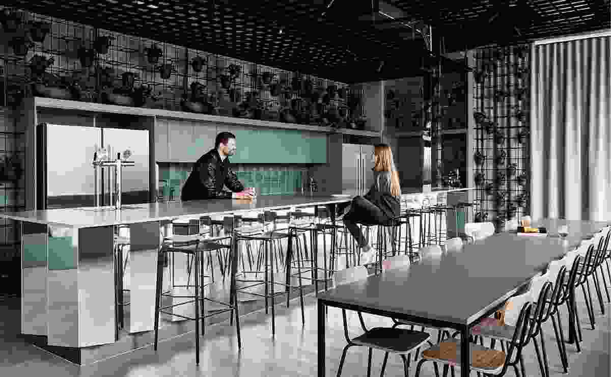 A communal kitchen allows users of the co-working space to meet and mingle.