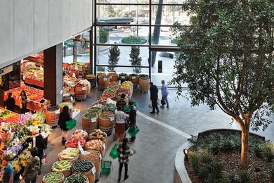 "At Highpoint's eastern entry, mature trees and a greengrocer lend a ""public square"" feel."