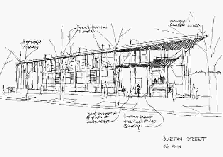 Sketch of the East Sydney Community Centre by Lahznimmo Architects.