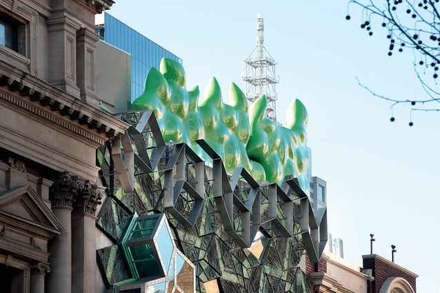 """There is an obvious distinction between the more rigid Penrose tiles of Storey Hall and the """"cabbagy"""" forms of the new work."""