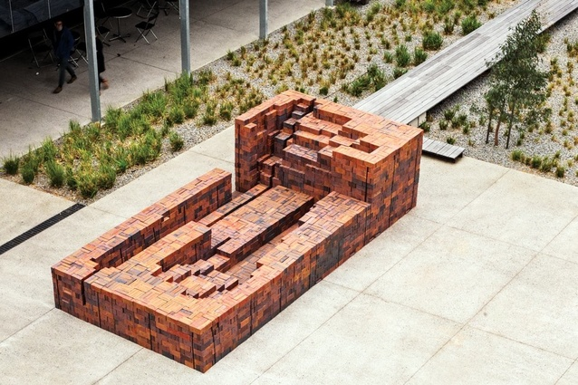 The completed full-scale prototype in the MUMA courtyard.