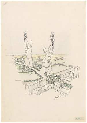 Entry in the 1978 Melbourne Landmark Ideas Competition: two giant kangaroos holding dollar signs.