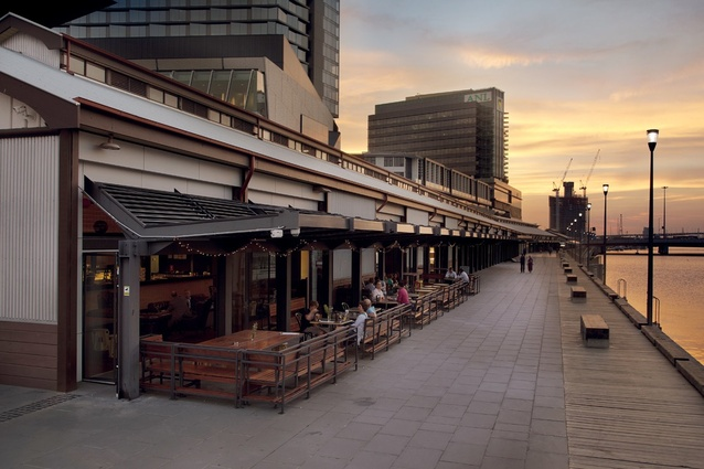 A series of restaurants, bars and cafes line the South Wharf promenade and Duke's walk.