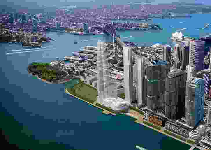 The proposed One Sydney Harbour, designed by Renzo Piano Building Workshop, consists of three residential towers, two of which have been recommended for approval.