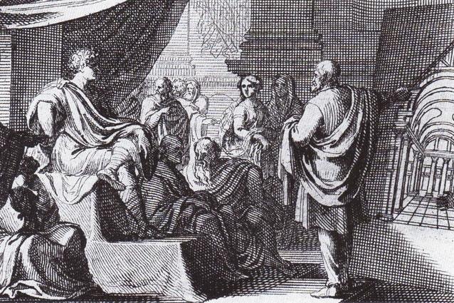 <i>Vitruvius</i> by Sebastian Le Clerc (1684) - Vitruvius (right) presents <i>De Architectura</i> to Augustus.