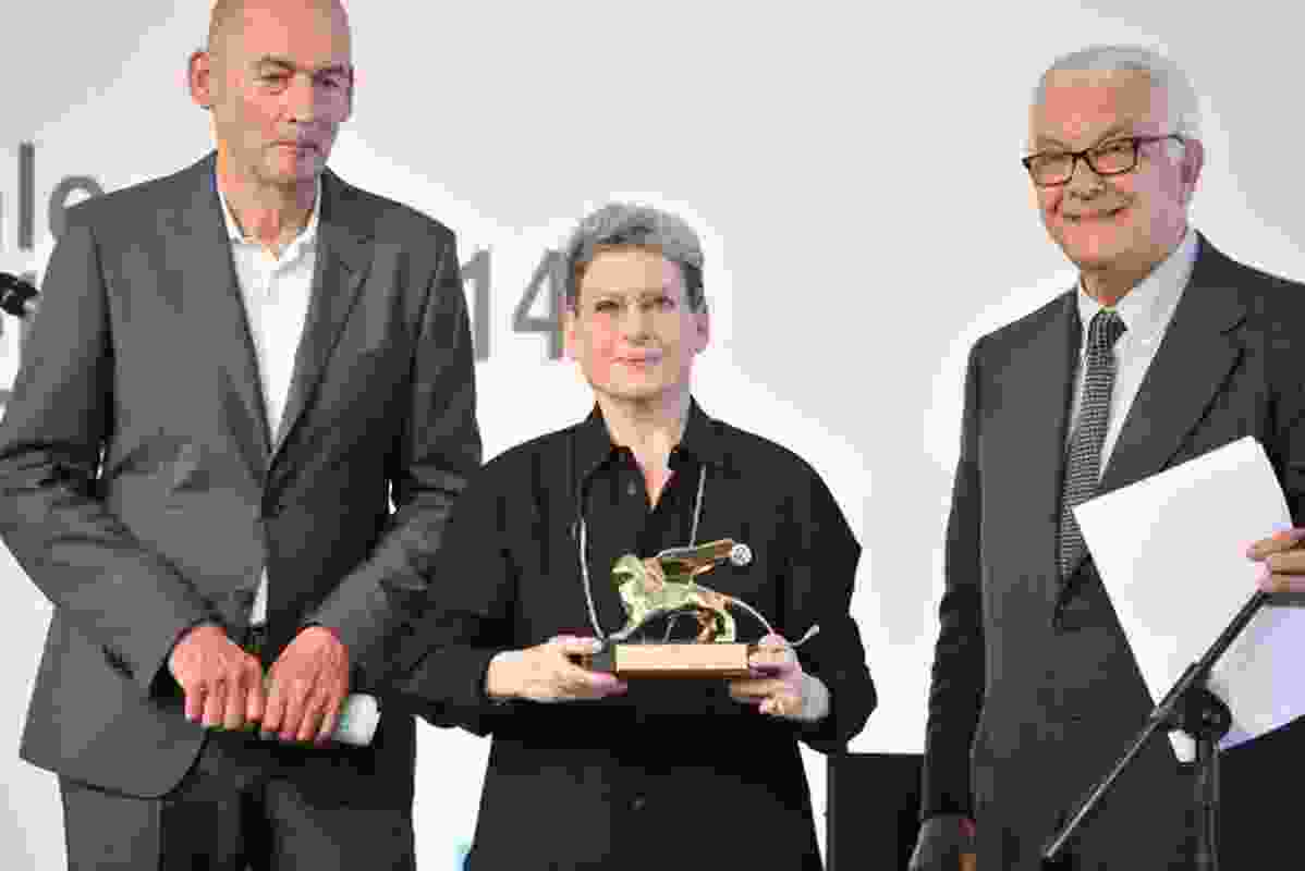 Architect Phyllis Lambert recieves the Golden Lion award for lifetime achievement at the 14th International Architecture exhibition in Venice on Saturday 7 June. Lambert is flanked by Rem Koolhaas (left) and Paolo Baratta.