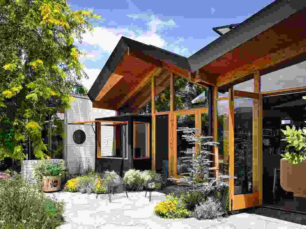Generous double-doors provide views to the patio and make it easy for guests and fresh air to circulate.